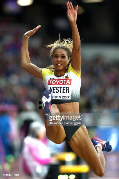 Alexandra Wester of Germany competes in the Women's Long Jump qualification during day six of the 16th IAAF World Athletics Championships London 2017...