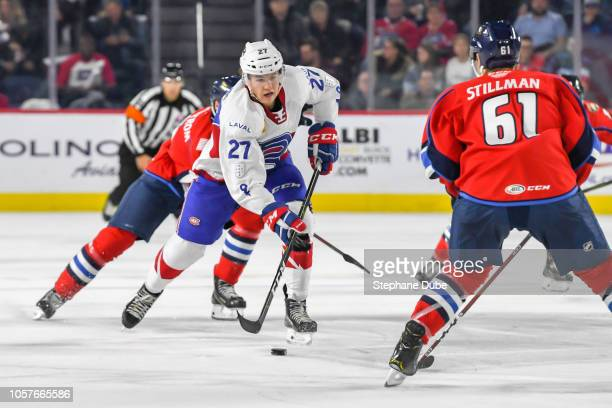Alexandre Alain of the Laval Rocket about to deke Riley Stillman of the Springfield Thunderbirds at Place Bell on October 19 2018 in Laval Quebec