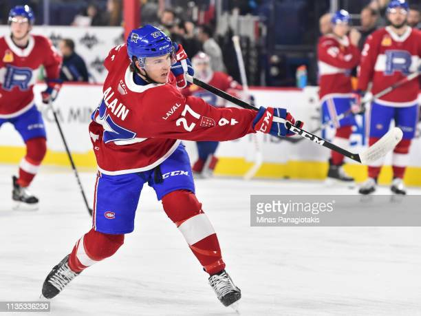Alexandre Alain of the Laval Rocket takes a shot during the warmup prior to the AHL game against the Toronto Marlies at Place Bell on March 8 2019 in...