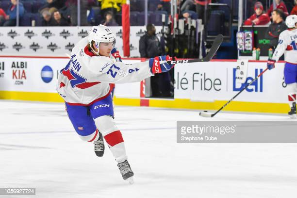 Alexandre Alain of the Laval Rocket took a slapshot on net during warmup against the Utica Comets at Place Bell on November 3 2018 in Laval Quebec...