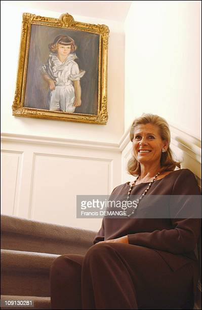 Alexandre And Lea Of Belgium At Home Near Brussels On December 16 2004 In Brussels Belgium Princess Lea In The Staircase With A Portrait Of Prince...
