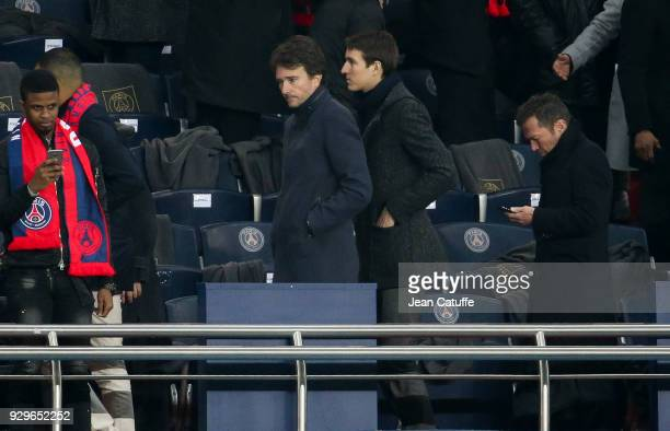 Alexandre Arnault and Antoine Arnault attend the UEFA Champions League Round of 16 Second Leg match between Paris SaintGermain and Real Madrid at...