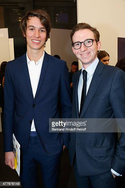 Alexandre Arnault and guest attend LVMH Prize SemiFinalists Designers Cocktail Party on February 26 2014 in Paris France