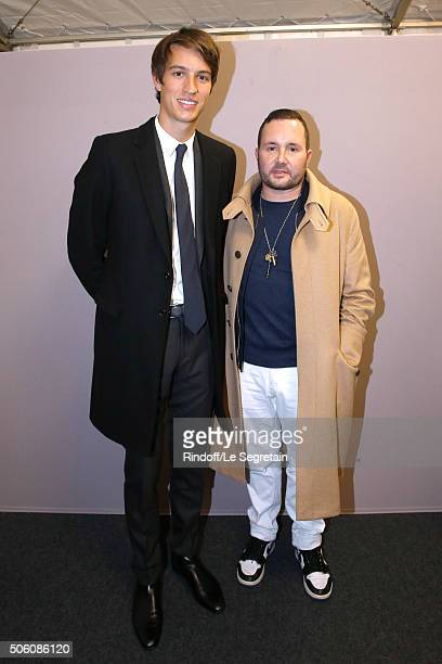 Alexandre Arnault and Stylist Kim Jones pose Backstage after the Louis Vuitton Menswear Fall/Winter 20162017 Fashion Show as part of Paris Fashion...