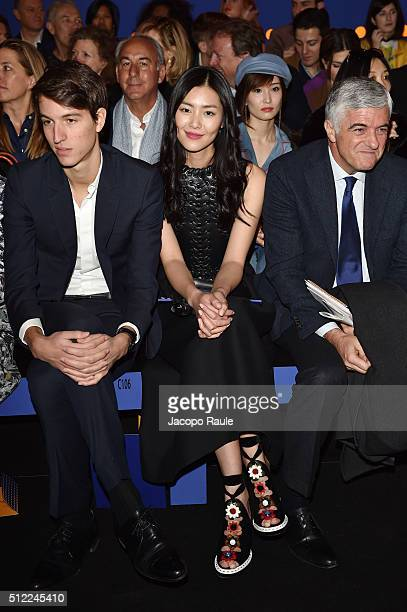 Alexandre Arnault and Wen Liu attend the Fendi show during Milan Fashion Week Fall/Winter 2016/17 on February 25 2016 in Milan Italy