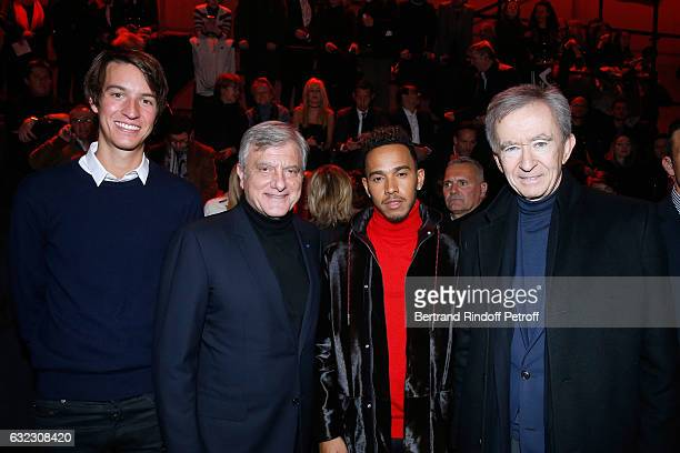 Alexandre Arnault CEO Dior Sidney Toledano Formula One driver Lewis Hamilton and Owner of LVMH Luxury Group Bernard Arnault the Dior Homme Menswear...