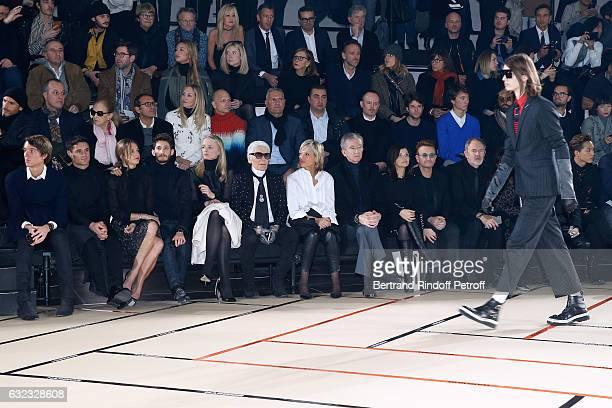 Alexandre Arnault Dan Carter Natasha Andrews Pierre Niney Louis Vuitton's executive vice president Delphine Arnault stylist Karl Lagerfeld Helene...