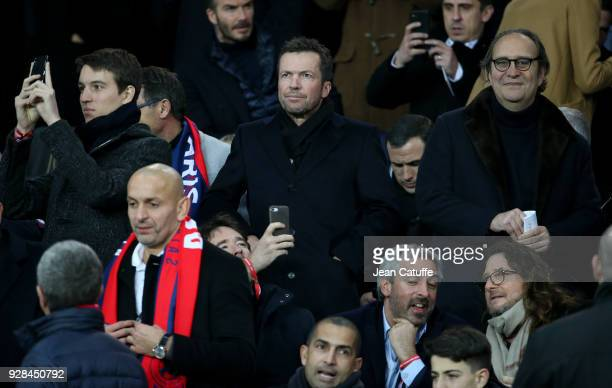 Alexandre Arnault Lothar Matthaus Xavier Niel attend the UEFA Champions League Round of 16 Second Leg match between Paris SaintGermain and Real...