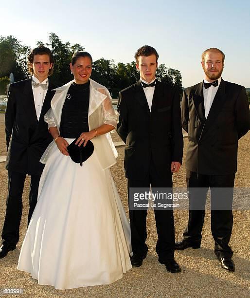 Alexandre Astier Mrs Caroline Astier Prince Ulrich Poniatowski and Xavier de San De Bussy arrive at Versailles castle to attend the Gand Bal of...