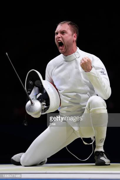 Alexandre Bardenet of Team France celebrates after defeating Curtis McDowald of Team United States in Men's Individual Épée first round on day two of...
