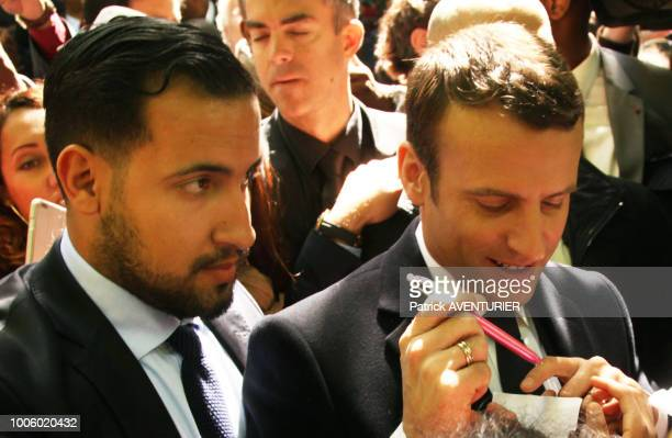 Alexandre Benalla with Newly elected French president Emmanuel Macron attend a ceremony at the Luxembourg Gardens to mark the abolition of slavery...