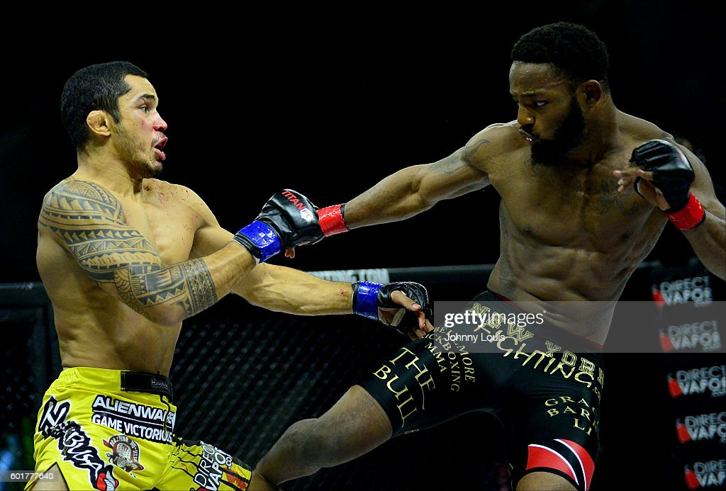 Alexandre Bezerra fight Andre Harrison in their Featherweight Title bout during the TITAN FC41 UFC fight event at Bank United Center on September 9, 2016 in Miami, Florida.