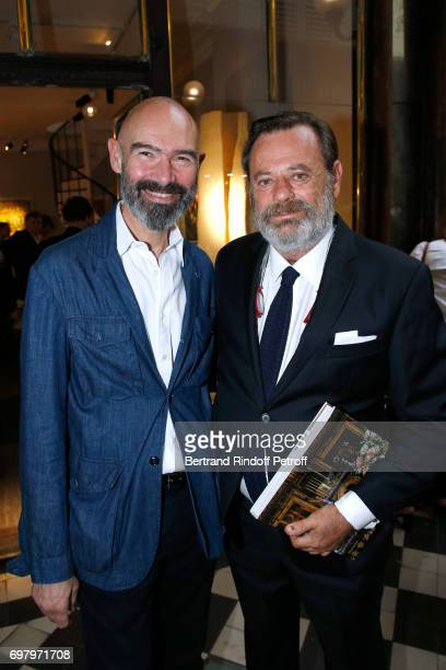 Alexandre Biaggi and Louis Benech attend Barbara de Nicolay signs her Book L'Esprit du Chateau de Lude with the Eric Sander's Le Lude Photos...