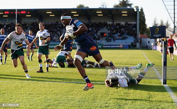 Alexandre Bias of Castres breaks clear to score their fourth try during the European Rugby Champions Cup match between Castres and Northampton Saints...