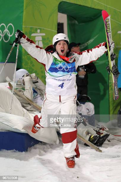 Alexandre Bilodeau of Canada celebrates winning the gold medal for the Freestyle Skiing Men's Moguls on day 3 of the 2010 Winter Olympics at Cypress...