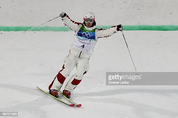 Alexandre Bilodeau of Canada reacts after competing a run during the Freestyle Skiing Men's Moguls on day 3 of the 2010 Winter Olympics at Cypress...