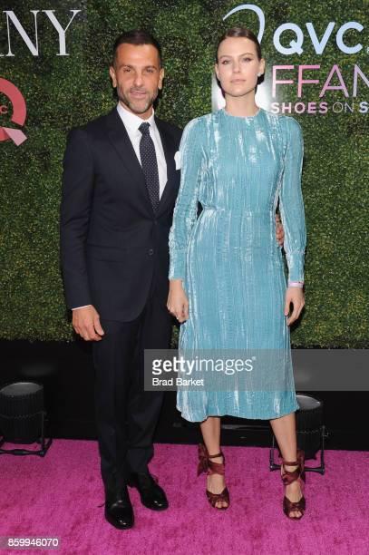 Alexandre Birman and Johana Birman attend the Annual QVC presents 'FFANY Shoes On Sale' Gala at The Ziegfeld Ballroom on October 10 2017 in New York...