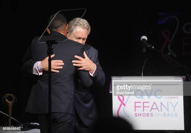 Alexandre Birman and President CEO of FFANY Ron Fromm speak onstage at the Annual QVC presents 'FFANY Shoes On Sale' Gala at The Ziegfeld Ballroom on...