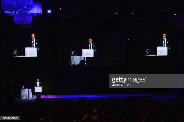 Alexandre Birman speaks onstage during Annual QVC presents 'FFANY Shoes On Sale' Gala at The Ziegfeld Ballroom on October 10 2017 in New York City