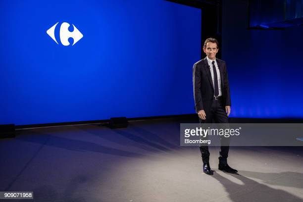 Alexandre Bompard chief executive officer of Carrefour SA arrives at a news conference in Paris France on Tuesday Jan 23 2018 Carrefour is forming a...