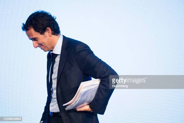 Alexandre Bompard chief executive officer of Carrefour SA departs the retailer's full year earnings news conference in Paris France on Thursday Feb...