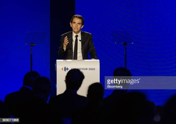 Alexandre Bompard chief executive officer of Carrefour SA gestures while speaking during a news conference in Paris France on Tuesday Jan 23 2018...