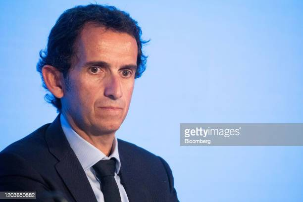 Alexandre Bompard chief executive officer of Carrefour SA pauses during the retailer's full year earnings news conference in Paris France on Thursday...