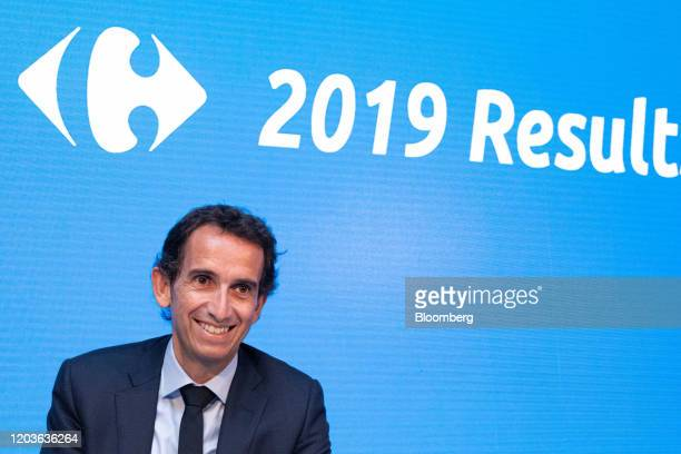 Alexandre Bompard chief executive officer of Carrefour SA reacts during the retailer's full year earnings news conference in Paris France on Thursday...