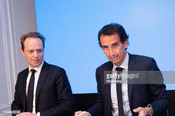 Alexandre Bompard chief executive officer of Carrefour SA right speaks beside Matthieu Malige chief financial officer officer of Carrefour SA during...