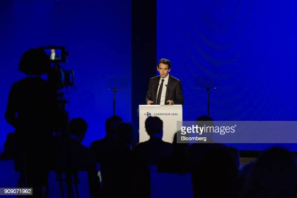Alexandre Bompard chief executive officer of Carrefour SA speaks during a news conference in Paris France on Tuesday Jan 23 2018 Carrefour is forming...