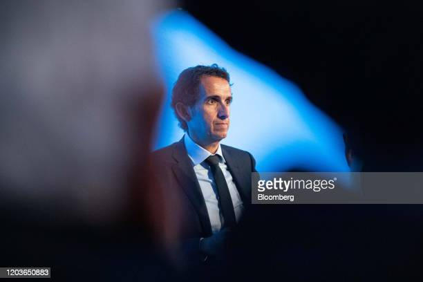 Alexandre Bompard chief executive officer of Carrefour SA speaks with journalists at the end of a news conference in Paris France on Tuesday Jan 27...