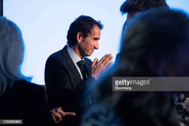 Alexandre Bompard chief executive officer of Carrefour SA speaks with journalists at the end of the retailer's full year earnings news conference in...