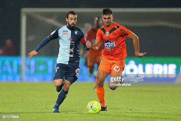 Alexandre Bonnet of Le Havre and Adrien Monfray of Laval during the Ligue 2 match between Stade Lavallois and Le Havre AC on November 4 2016 in Laval...