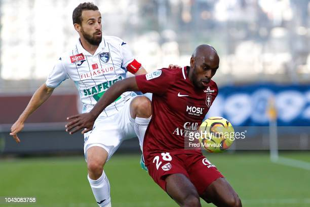 Alexandre Bonnet of Le Havre and Jonathan Rivierez of Metz during the Ligue 2 match between FC Metz and Le Havre on September 29 2018 in Metz France