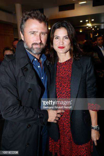 Alexandre Brasseur and his wife Juliette attend 'Le Banquet' Theater play at Theatre du RondPoint on October 11 2018 in Paris France