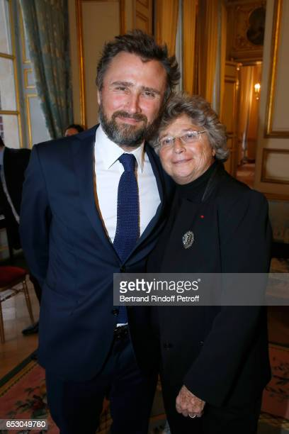 "Alexandre Brasseur and Jacqueline Franjou attend Claude Brasseur is elevated to the rank of ""Officier de la Legion d'Honneur"" at Elysee Palace on..."