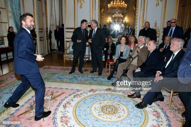 Alexandre Brasseur, French Minister of Culture and Communication, Audrey Azoulay, Jean-Paul Belmondo, Claude Brasseur and Christian Cambon attend...