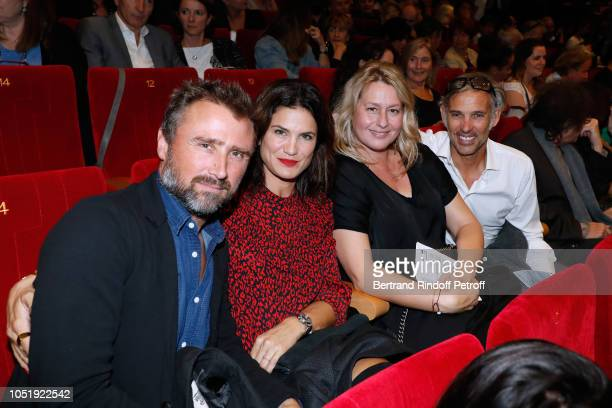 Alexandre Brasseur his wife Juliette Paul Belmondo and his wife Luana attend 'Le Banquet' Theater play at Theatre du RondPoint on October 11 2018 in...