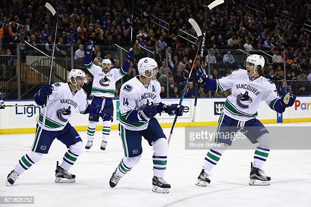 Alexandre Burrows of the Vancouver Canucks celebrates his goal at 921 of the third period against the New York Rangers at Madison Square Garden on...
