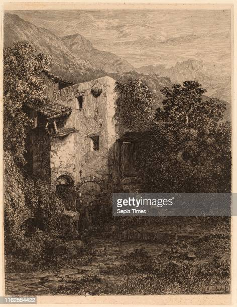 Alexandre Calame Dilapidated House Swiss 1810 1864 etching on chine coll̩