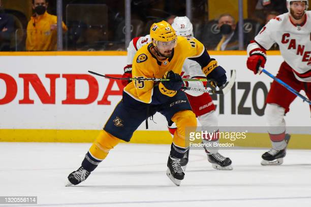 Alexandre Carrier of the Nashville Predators skates against Andrei Svechnikov of the Carolina Hurricanes during the third period in Game Six of the...