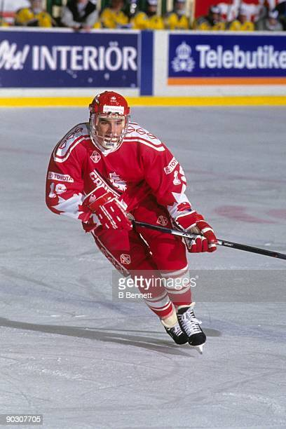 Alexandre Daigle of Team Canada competes during the World Junior Ice Hockey Championships circa January of 1993 in Gavle Sweden