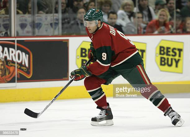 Alexandre Daigle of the Minnesota Wild skates with the puck during the game against the Dallas Stars at the Xcel Energy Center on January 9 2006 in...
