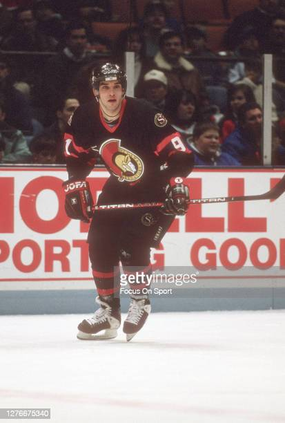 Alexandre Daigle of the Ottawa Senators skates against the New Jersey Devils during an NHL Hockey game circa 1994 at the Brendan Byrne Arena in East...