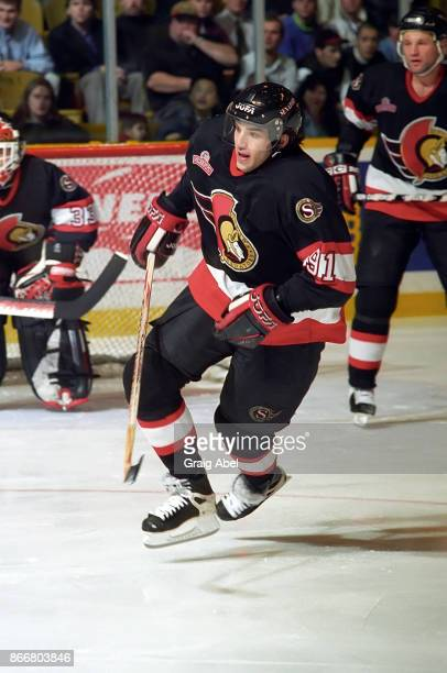 Alexandre Daigle of the Ottawa Senators skates against the Toronto Maple Leafs during NHL game action on December 5, 1995 at Maple Leaf Gardens in...