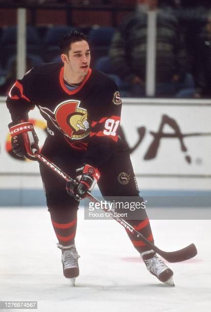 Alexandre Daigle of the Ottawa Senators warms up prior to the start of an NHL Hockey game against the New Jersey Devils circa 1994 at the Brendan...