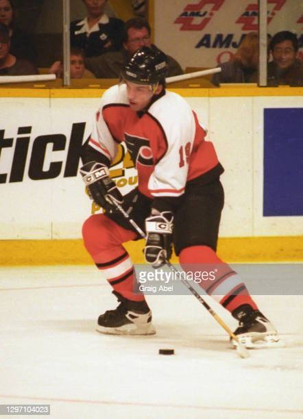 Alexandre Daigle of the Philadelphia Flyers skates against the Toronto Maple Leafs during NHL game action on December 12, 1998 at Maple Leaf Gardens...