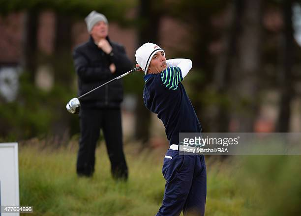 Alexandre Daydou of France plays his first shot on the 12th tee during The Amateur Championship 2015 Day Four at Carnoustie Golf Club on June 18 2015...