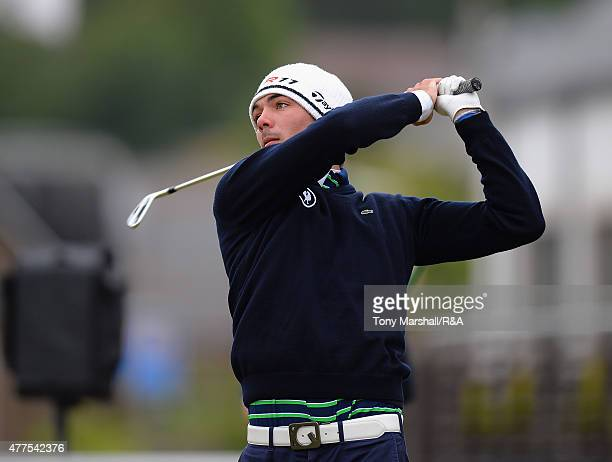 Alexandre Daydou of France plays his first shot on the 1st tee during The Amateur Championship 2015 - Day Four at Carnoustie Golf Club on June 18,...