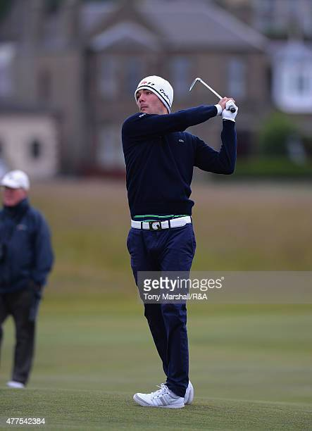 Alexandre Daydou of France plays his second shot on the 1st fairway during The Amateur Championship 2015 - Day Four at Carnoustie Golf Club on June...